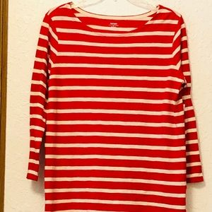NWT Old Navy Red & Cream Striped Top size M